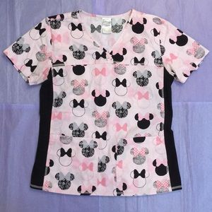 Minnie Mouse Cherokee Tooniforms Scrub Top Size S